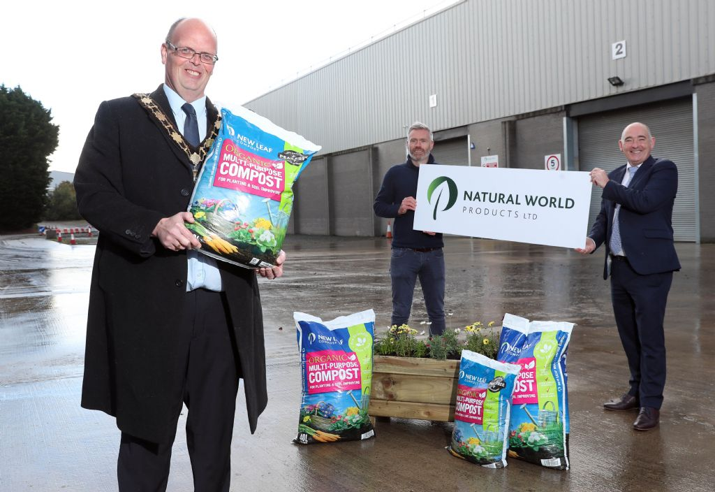 Natural World Products hosts Mayor at Antrim depot